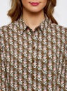 Блузка базовая из вискозы oodji #SECTION_NAME# (зеленый), 11411136B/26346/6645O - вид 4