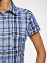 Рубашка клетчатая с коротким рукавом oodji для женщины (синий), 11402084-4/35293/7075C