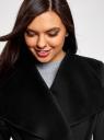 Пальто без застежки с поясом oodji #SECTION_NAME# (черный), 10104042-1/47736/2900N - вид 4