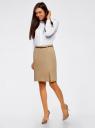 Блузка с погонами и нагрудными карманами oodji для женщины (белый), 21411064/42144/1000N