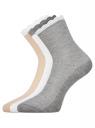 Комплект из трех пар хлопковых носков oodji для женщины (разноцветный), 57102806T3/48417/5