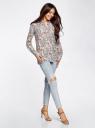 Блузка с нагрудными карманами и регулировкой длины рукава oodji для женщины (разноцветный), 11400355-3B/26346/1231F