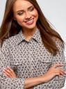Рубашка принтованная с нагрудными карманами oodji для женщины (коричневый), 13K03009/46807/1057E