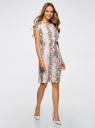 Платье вискозное на кулиске oodji для женщины (белый), 21901142/45804/1233A