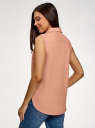 Рубашка прямая без рукавов oodji #SECTION_NAME# (розовый), 14911017/49224/5400N - вид 3