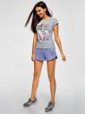 Шорты хлопковые на завязках oodji для женщины (фиолетовый), 17001102-1/47481/8000N