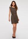 Платье принтованное из вискозы oodji #SECTION_NAME# (коричневый), 11910073-2/45470/3912D - вид 2
