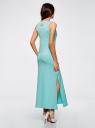 Платье макси с черепом из страз oodji для женщины (бирюзовый), 14005134/45204/7391P