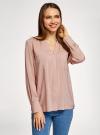 Блузка вискозная с нагрудными карманами oodji #SECTION_NAME# (розовый), 11411201/24681/4B00N - вид 2