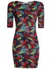Платье трикотажное облегающее oodji #SECTION_NAME# (синий), 14001121-3B/16300/7955F