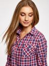 Рубашка в клетку с карманами oodji #SECTION_NAME# (красный), 11400433-1/43223/7445C - вид 4