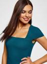 Платье-футляр из плотной ткани с квадратным вырезом oodji #SECTION_NAME# (синий), 21902065/31291/7400N - вид 4