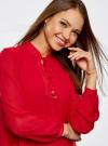 Блузка из шифона свободного силуэта с завязками oodji #SECTION_NAME# (красный), 21400402/17358/4500N - вид 4