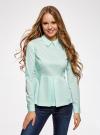 Блузка базовая с баской oodji #SECTION_NAME# (зеленый), 11400444B/42083/6501N - вид 2