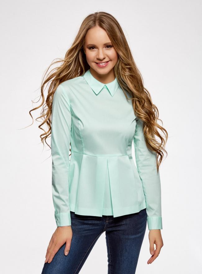 Блузка базовая с баской oodji #SECTION_NAME# (зеленый), 11400444B/42083/6501N