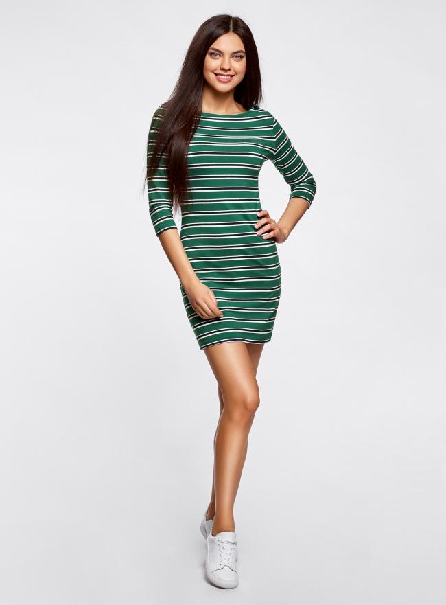 Платье трикотажное в полоску oodji #SECTION_NAME# (зеленый), 14001071-10/46148/6E25S