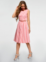Платье с поясом без рукавов oodji для женщины (розовый), 12C13008-1/46683/4D12S