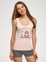 Пижама хлопковая с принтом oodji для женщины (розовый), 56002199-6/46154/4025Z