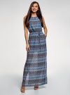 Платье макси с завязкой на поясе oodji #SECTION_NAME# (синий), 24005138/45509/7925E - вид 2