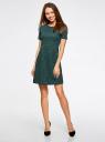 Платье приталенное кружевное oodji #SECTION_NAME# (зеленый), 11900213/45991/6C00L - вид 2