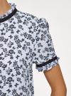 Блузка из струящейся ткани с контрастной отделкой oodji #SECTION_NAME# (синий), 11401272-1/36215/7029F - вид 5