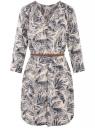 Платье вискозное с ремнем oodji #SECTION_NAME# (синий), 11900180B/42540/7933O