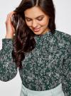 Блузка из струящейся ткани с воланами oodji #SECTION_NAME# (зеленый), 21411090/36215/6912E - вид 4