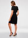 Платье с вырезом-капелькой и поясом на резинке oodji для женщины (черный), 11913043/46633/2900N