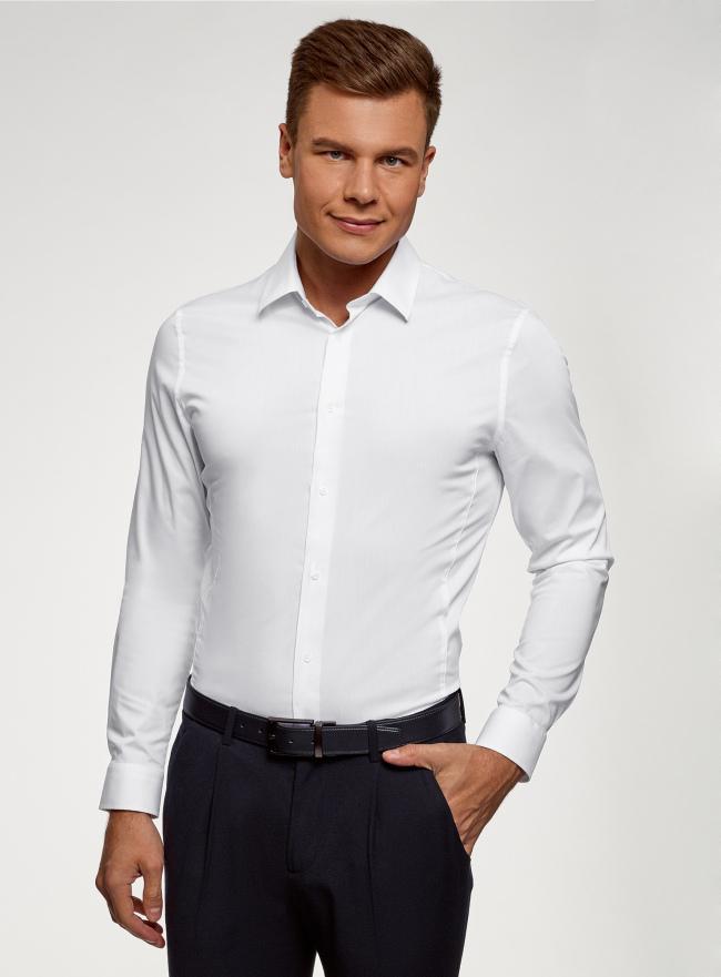 Рубашка базовая приталенная oodji для мужчины (белый), 3B140000M/34146N/1000N
