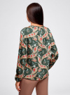 Блузка свободного кроя с вырезом-капелькой oodji #SECTION_NAME# (зеленый), 21400321-2/33116/6945F - вид 3