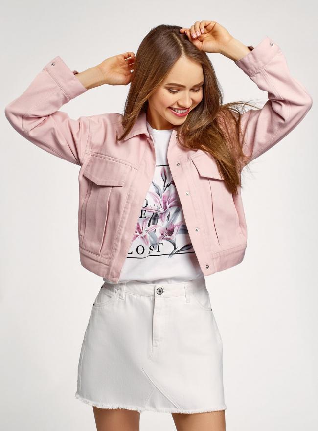 Куртка джинсовая на кнопках oodji для женщины (розовый), 11109040-1/49848/4000N
