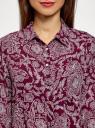 Блузка принтованная из шифона oodji #SECTION_NAME# (красный), 11400394-5/36215/4912E - вид 4