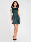 Платье из атласной ткани oodji #SECTION_NAME# (зеленый), 11902149/24393/6C00N - вид 2