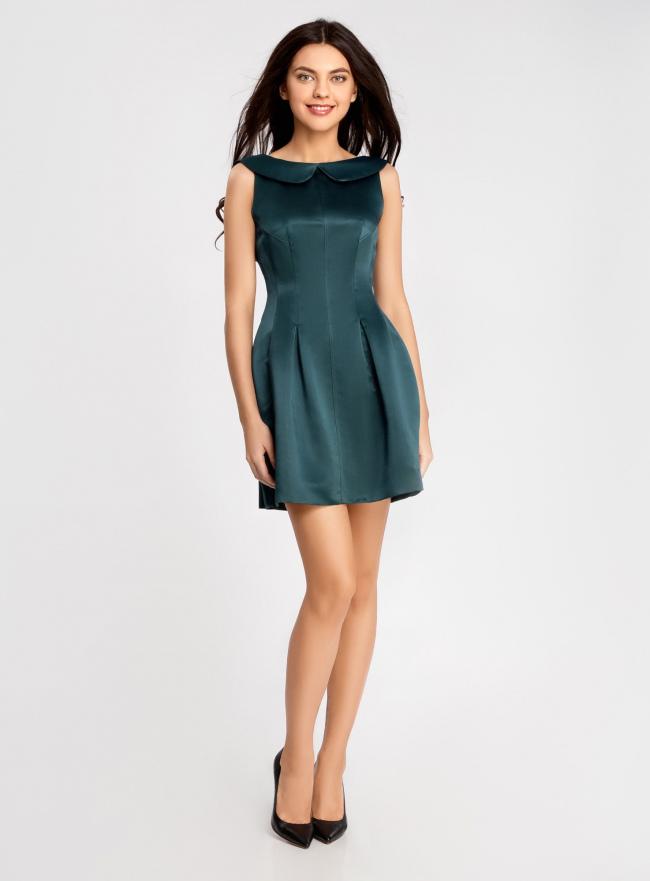 Платье из атласной ткани oodji #SECTION_NAME# (зеленый), 11902149/24393/6C00N