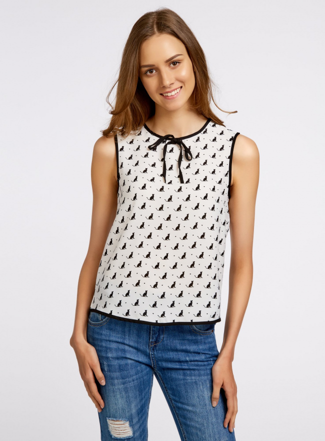 Блузка с контрастной отделкой oodji #SECTION_NAME# (белый), 11411047/42405/1229O