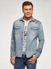 Рубашка джинсовая с нагрудными карманами oodji #SECTION_NAME# (синий), 6L400001M/35771/7500W - вид 2