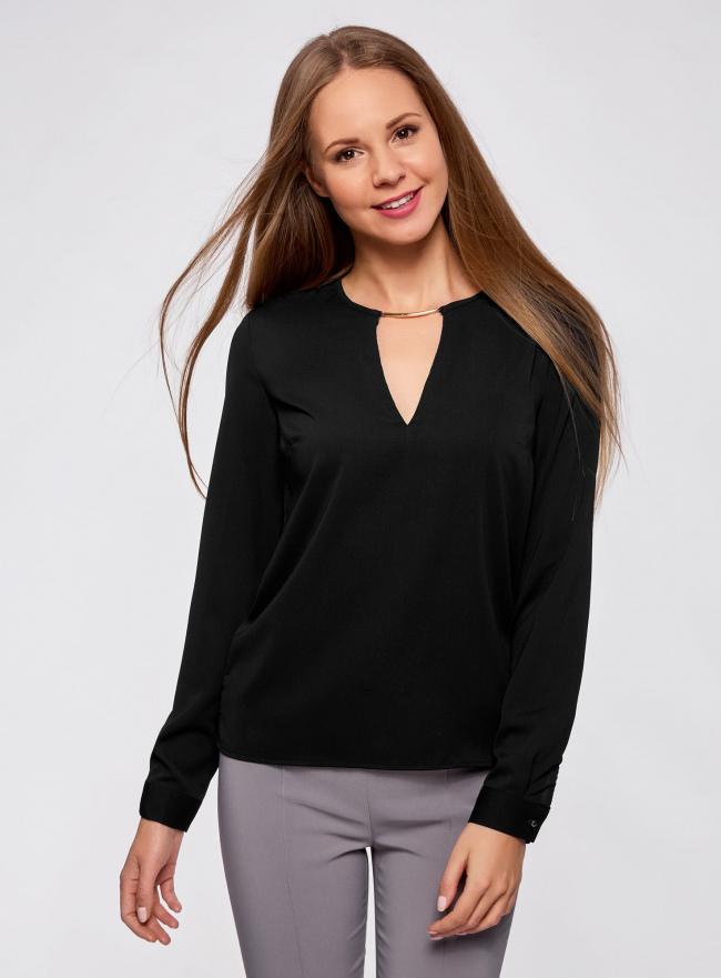 Блузка с вырезом-капелькой и металлическим декором oodji #SECTION_NAME# (черный), 21400396/38580/2900N
