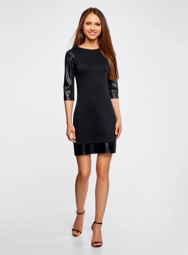 Платье с отделкой из искусственной кожи oodji для женщины (черный), 14001143-2/16564/2900N