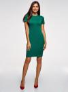 Платье облегающего силуэта на молнии oodji #SECTION_NAME# (зеленый), 14011025/42588/6E00N - вид 2