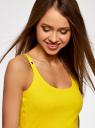 Майка-борцовка с люверсами на лямках oodji #SECTION_NAME# (желтый), 24305006B/46164/5100N - вид 4