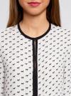 Блузка из струящейся ткани с контрастной отделкой oodji #SECTION_NAME# (белый), 11411059/43414/1029K - вид 4