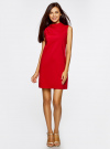 Платье без рукавов прямого кроя oodji #SECTION_NAME# (красный), 11900169/38269/4500N - вид 2
