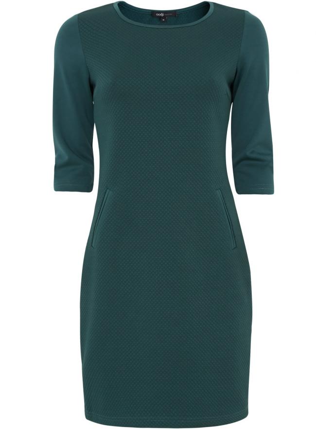 Трикотажное платье oodji для женщины (зеленый), 24001100-2M/42408/6E00N