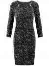 Платье с декоративными молниями принтованное oodji для женщины (черный), 24007024/43121/2912A