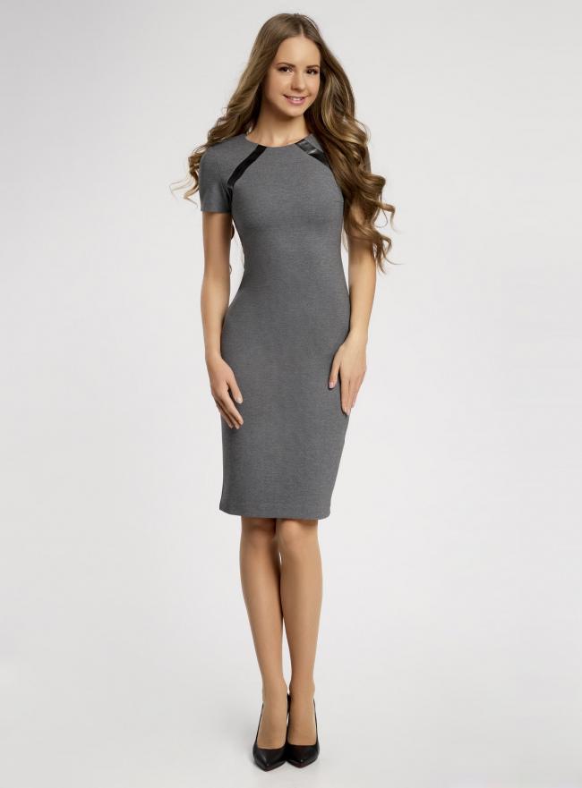 Платье трикотажное со вставками из искусственной кожи oodji для женщины (серый), 24011010/43060/2529B