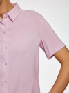 Блузка вискозная с короткими рукавами oodji #SECTION_NAME# (розовый), 11411137B/14897/4000N - вид 5