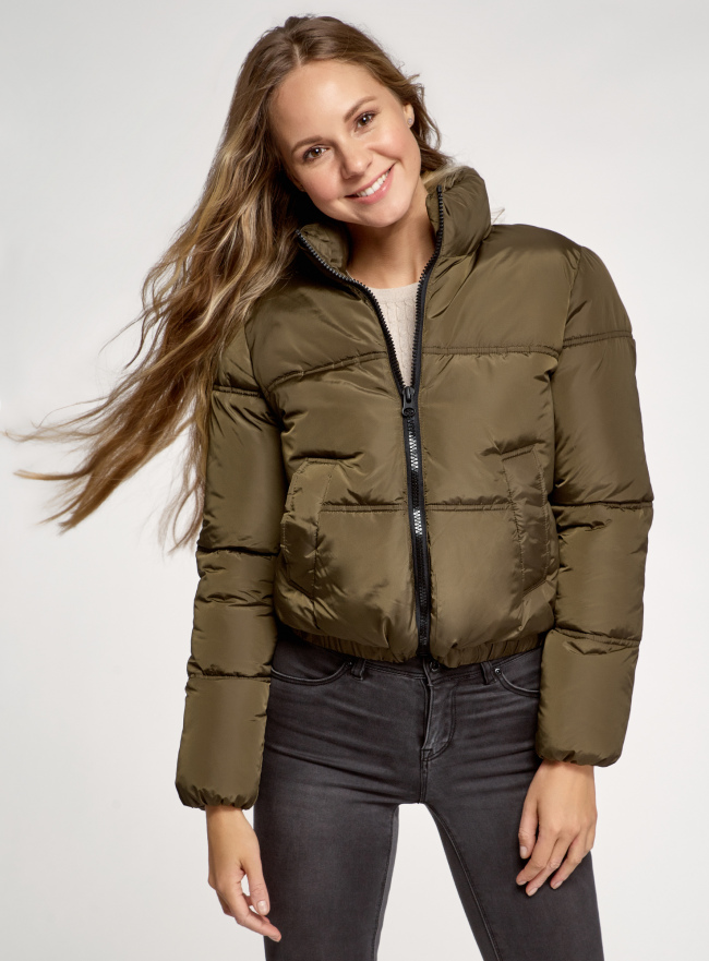 Куртка утепленная с высоким воротом oodji для женщины (зеленый), 10203083-2/45928/6801N