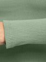 Водолазка из хлопка с декоративными пуговицами oodji для женщины (зеленый), 15E11029/50084/6200N