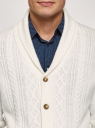 Кардиган фактурной вязки с пуговицами oodji #SECTION_NAME# (белый), 4L605052M/25365N/1200N - вид 4