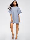 Платье прямого силуэта с воланами на рукавах oodji для женщины (синий), 14000172B/48033/7000M - вид 2
